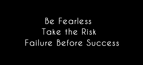 Be fearless, take the risk, failure before success